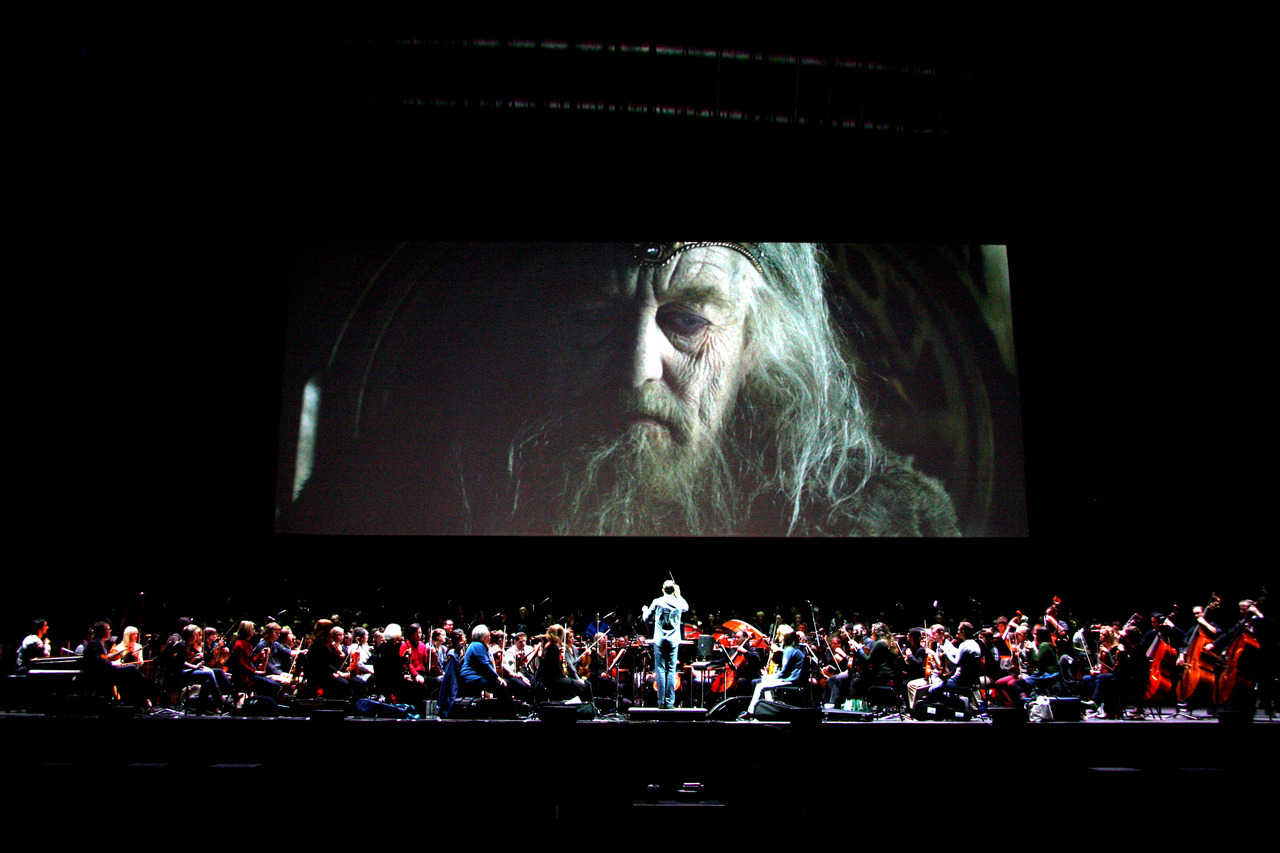 Justin Freer conducts the RTE Concert Orchestra and choir in rehearsals for The Lord Of The Rings: The Two Towers in the O2 on Sunday Oct 28th. Photo: Clive Mulvey.